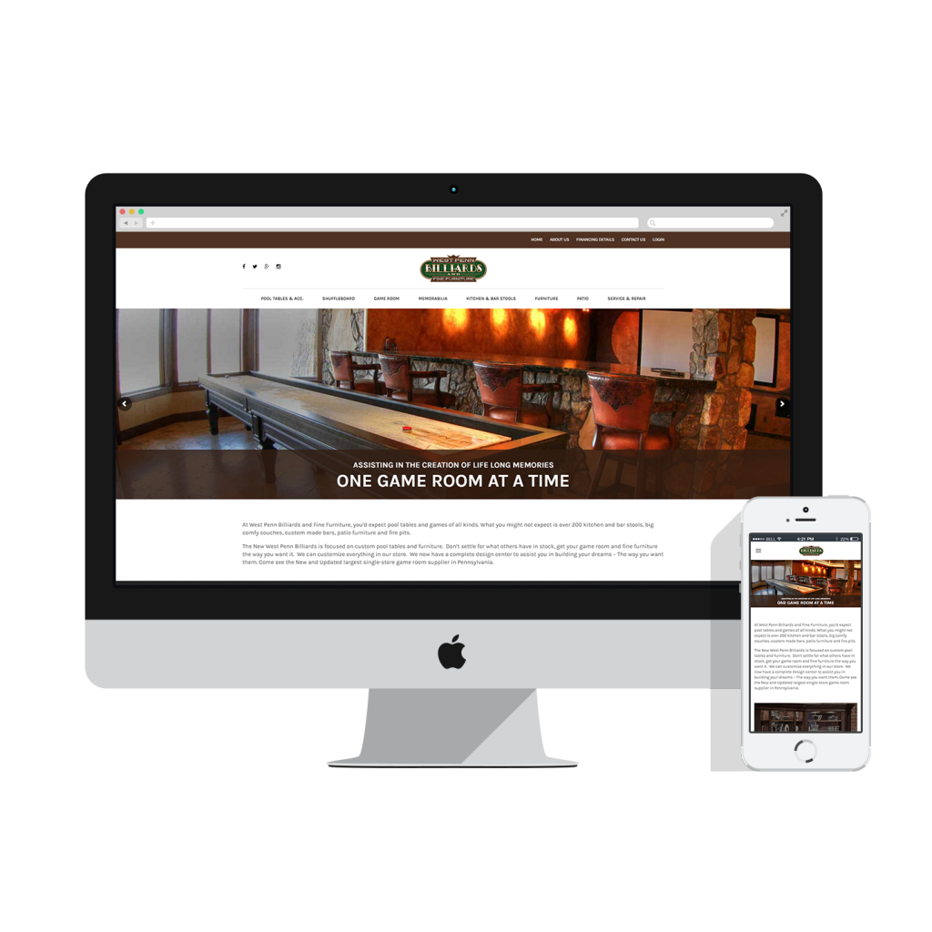 west penn billiards website mockup
