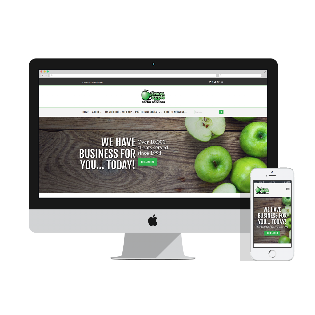 green apple website mockup