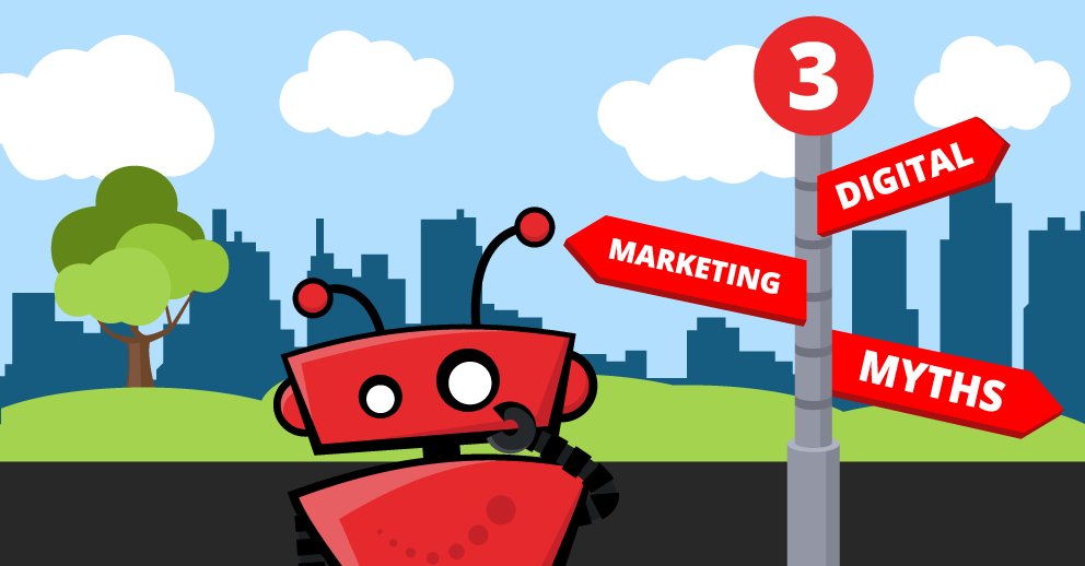 2 digital marketing myths blog graphic